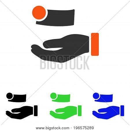 Money Payment vector icon. Illustration style is a flat iconic colored symbol with different color versions.