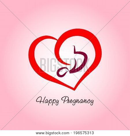 Happy Pregnancy logo. Vector illustration of pregnancy and embryo.
