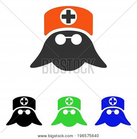 Nurse Head vector icon. Illustration style is a flat iconic colored symbol with different color versions.