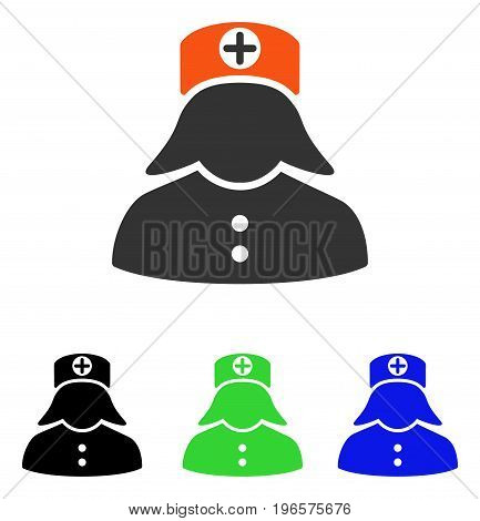 Nurse vector icon. Illustration style is a flat iconic colored symbol with different color versions.