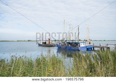 several fishing boats moored in a small lake