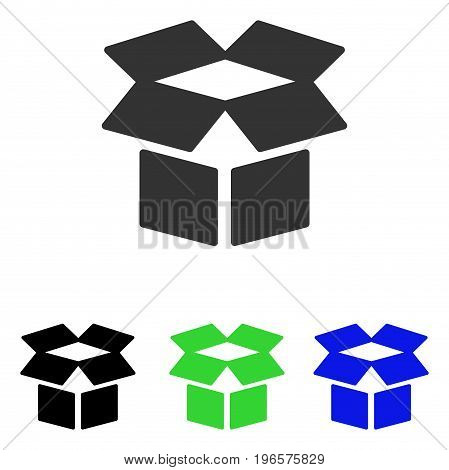Open Box vector pictogram. Illustration style is a flat iconic colored symbol with different color versions.