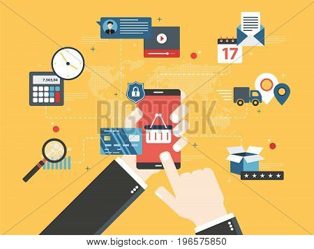 Hands holding smartphone and online store screen.Concept of online shopping search of products and calculation of values email with date of delivery and evaluation of the product and service.