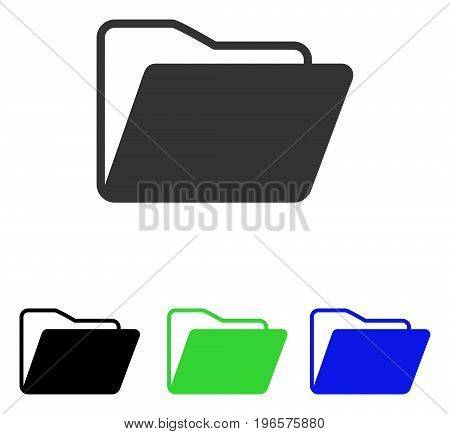 Open Folder vector pictograph. Illustration style is a flat iconic colored symbol with different color versions.