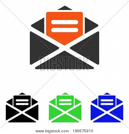 Open Mail vector pictogram. Illustration style is a flat iconic colored symbol with different color versions.