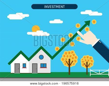 Property investment. House with growth chart and coins hand showing investment success. Concept of business and innovative work.Flat vector illustration.