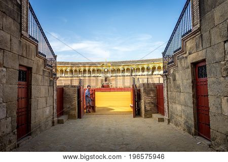 Seville, Spain - June 19: The Bull Fighting Ring In Seville, Spain, Europe On June 19, 2017.