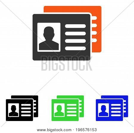 Patient Accounts vector pictograph. Illustration style is a flat iconic colored symbol with different color versions.