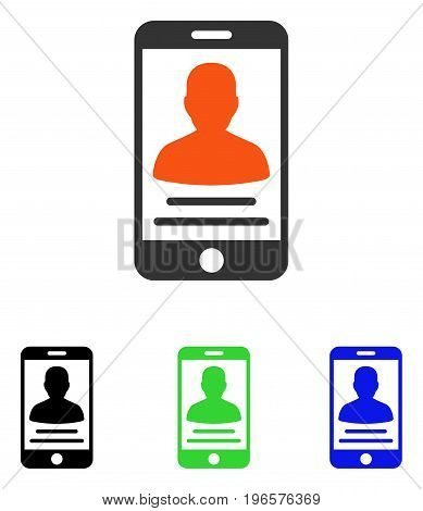 Patient Mobile Account vector pictograph. Illustration style is a flat iconic colored symbol with different color versions.