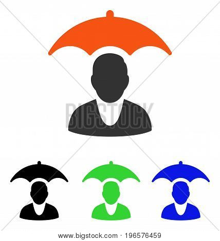 Patient Safety Umbrella vector pictogram. Illustration style is a flat iconic colored symbol with different color versions.