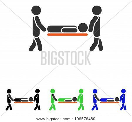 Patient Stretcher vector pictograph. Illustration style is a flat iconic colored symbol with different color versions.