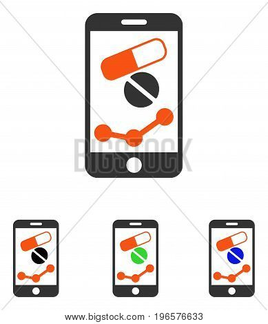 Pharmacy Online Report vector pictogram. Illustration style is a flat iconic colored symbol with different color versions.