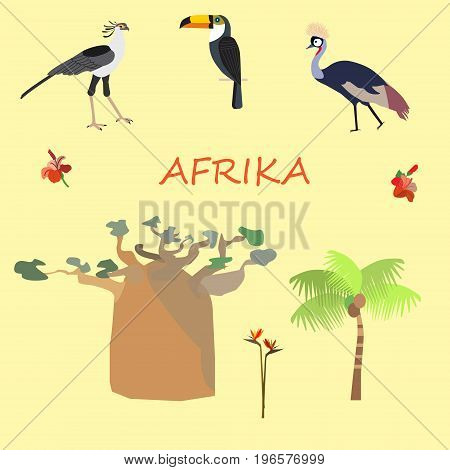 A set of African flora and fauna vector illustration.