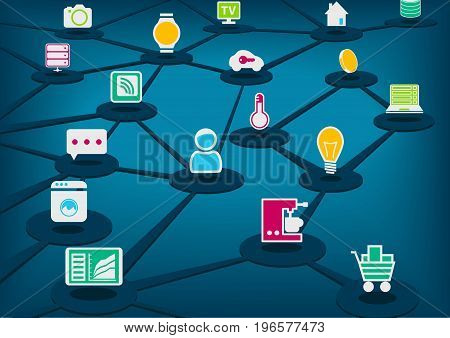 Internet of Things (IoT) vector illustration with connected devices. Dark blue background.