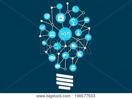 Internet of everything (IoT) concept. Light bulb to represent finding new ideas