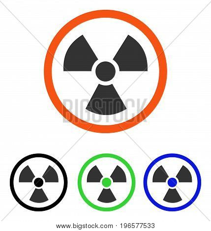 Radiation Danger vector pictogram. Illustration style is a flat iconic colored symbol with different color versions.