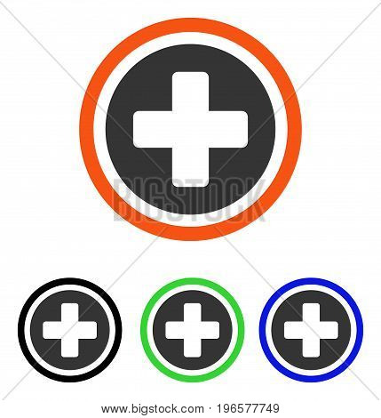 Rounded Cross vector icon. Illustration style is a flat iconic colored symbol with different color versions.