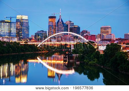Downtown Nashville Tennessee cityscape at night time