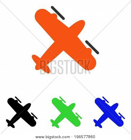 Screw Aeroplane vector pictograph. Illustration style is a flat iconic colored symbol with different color versions.