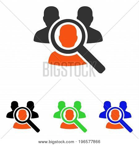 Search Patient vector pictograph. Illustration style is a flat iconic colored symbol with different color versions.
