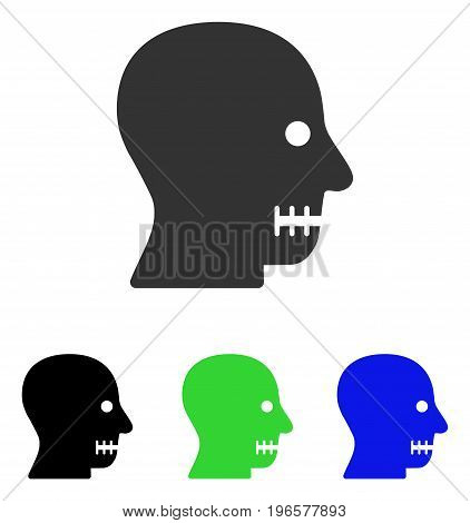 Sewn Mouth vector pictogram. Illustration style is a flat iconic colored symbol with different color versions.