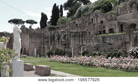 Ruins of the Temple of Vesta at the Foro Romano in Rome, Italy