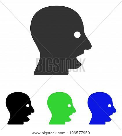 Shouting Head vector icon. Illustration style is a flat iconic colored symbol with different color versions.