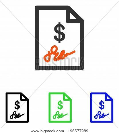 Signed Invoice vector pictogram. Illustration style is a flat iconic colored symbol with different color versions.