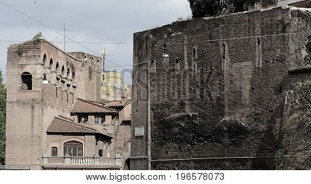 The ancient Aurelian Walls in Rome, Italy