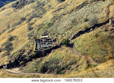 Israeli national park Gamla fortress at the Golan Heights - symbol of heroism