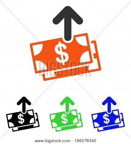 Spend Money vector pictograph. Illustration style is a flat iconic colored symbol with different color versions.