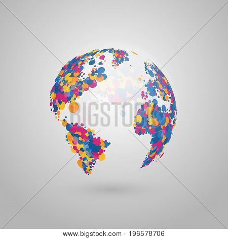 Abstract vector globe of the Earth of colorful dots.