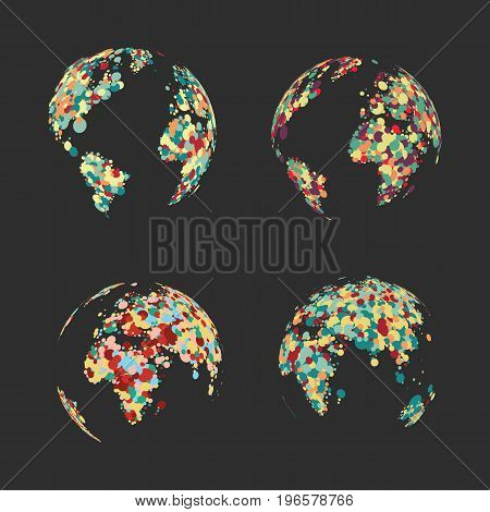 Set abstract globe of the Earth of colorful dots vector illustration