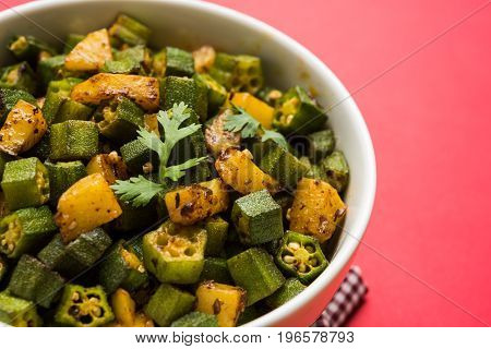 Indian masala fried bhindi or bhendi or Okra or ladyfinger curry or sabji, selective focus