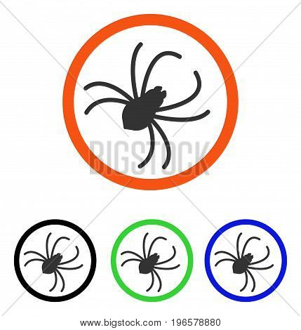 Spider vector pictograph. Illustration style is a flat iconic colored symbol with different color versions.