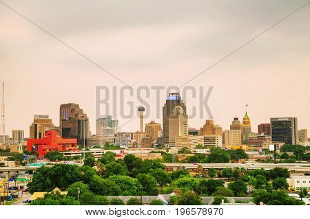 San Antonio TX cityscape in the evening