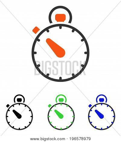 Stopwatch vector pictograph. Illustration style is a flat iconic colored symbol with different color versions.