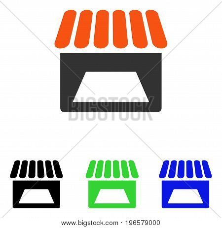 Store vector pictograph. Illustration style is a flat iconic colored symbol with different color versions.