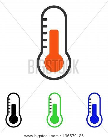 Temperature vector pictograph. Illustration style is a flat iconic colored symbol with different color versions.