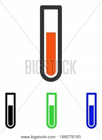 Test Tube vector icon. Illustration style is a flat iconic colored symbol with different color versions.