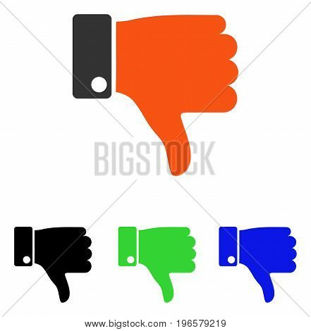 Thumb Down vector pictograph. Illustration style is a flat iconic colored symbol with different color versions.