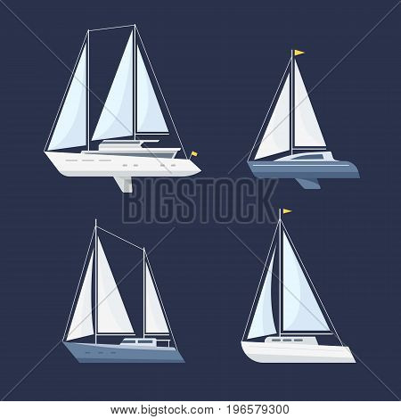 Set of sailing boat isolated on a dark background. Side view. Flat style.