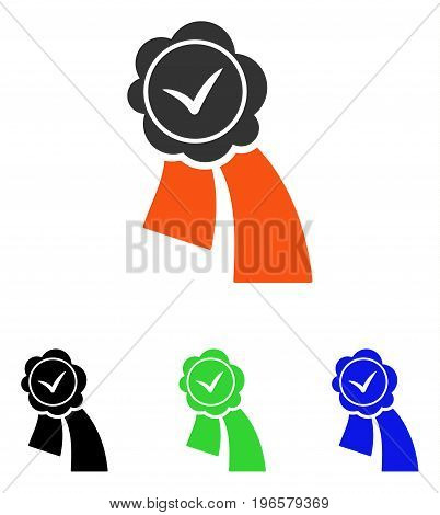 Validation Seal vector pictograph. Illustration style is a flat iconic colored symbol with different color versions.