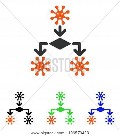 Virus Reproduction vector pictograph. Illustration style is a flat iconic colored symbol with different color versions.