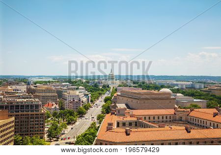 Washington DC city aerial view with the State Capitol building