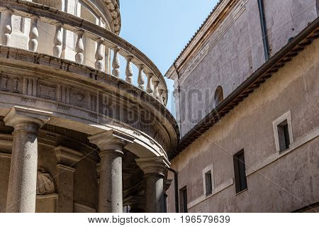Rome Italy - August 20 2016: San Pietro in Montorio in Rome. San Pietro in Montorio is a church in Rome which includes in its courtyard the Tempietto a small commemorative tomb built by Donato Bramante.