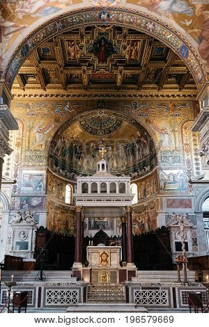 Rome Italy - August 18 2016: Interior view of church of Santa Maria in Trastevere. It is a titular minor basilica in the Trastevere district of Rome and one of the oldest churches of Rome