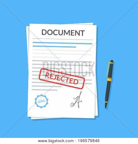 Rejected document with stamp and pen. Modern flat design graphic elements. Rejected application concepts. Vector illustration in flat style isolated on color background. Top view