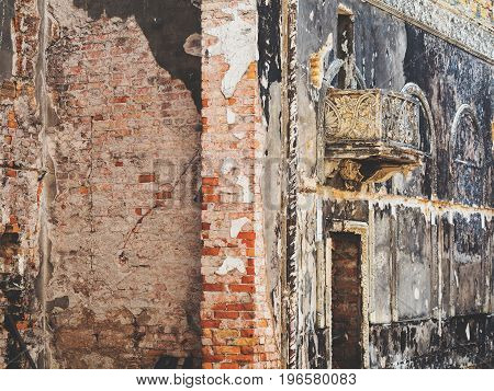 The Fire Damaged Interior Details In The Old House. Antique Hall After The Fire. A Terrifying Landsc