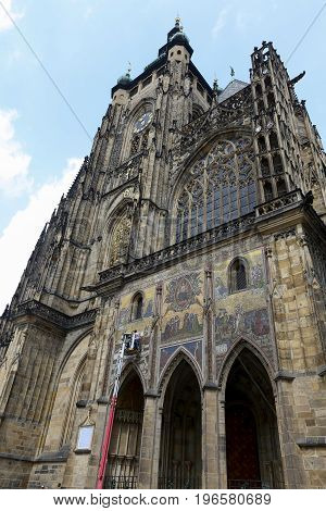 Prague Czech Republic - may 31 2017 - technicians work in the restoration of Gothic architecture of st. Vitus cathedral.
